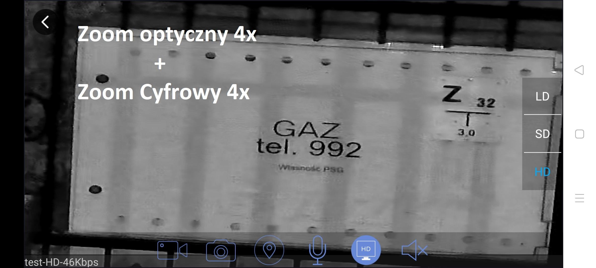 Powiększenie z kamery IP 4x